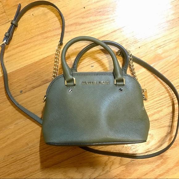 afa9ccff7ce3 ... leather handbag 7d9f6 0833c; good michael kors olive cindy dome mini  crossbody 2f4fb ca395